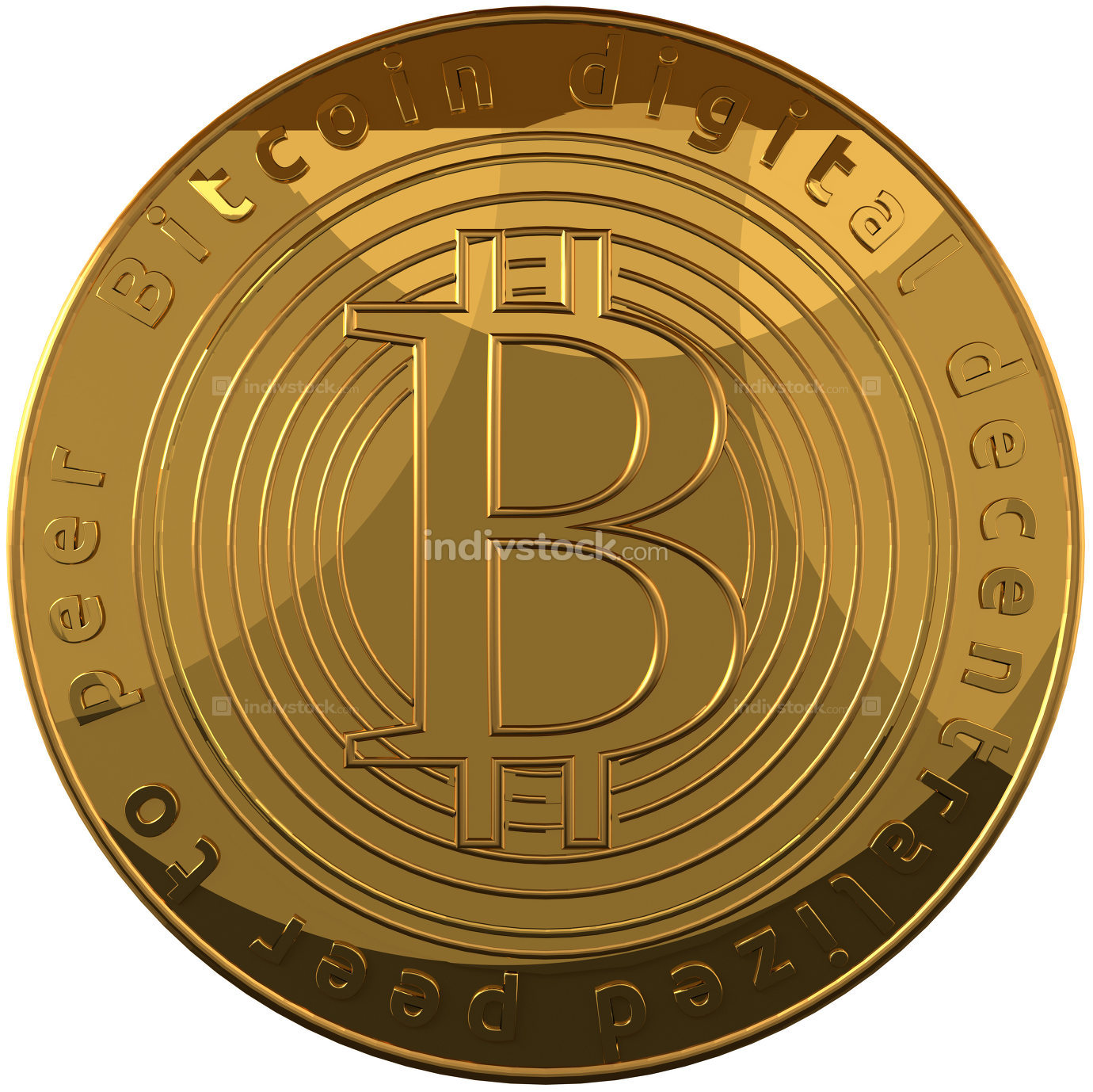 Bitcoin 3d rendering golden isolated