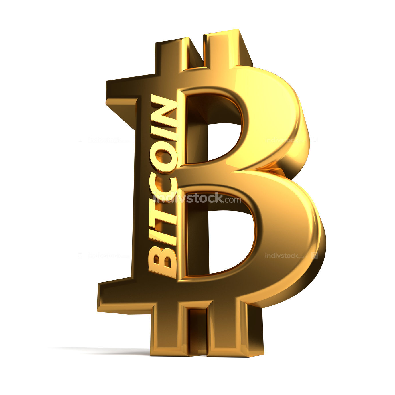 Bitcoin 3d rendering symbol isolated