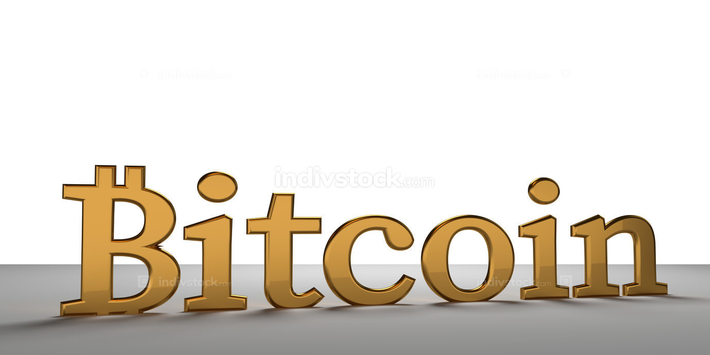 Bitcoin golden bold letters 3d rendering