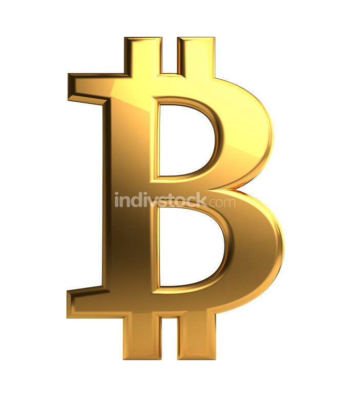 Bitcoin golden symbol isolated 3d rendering