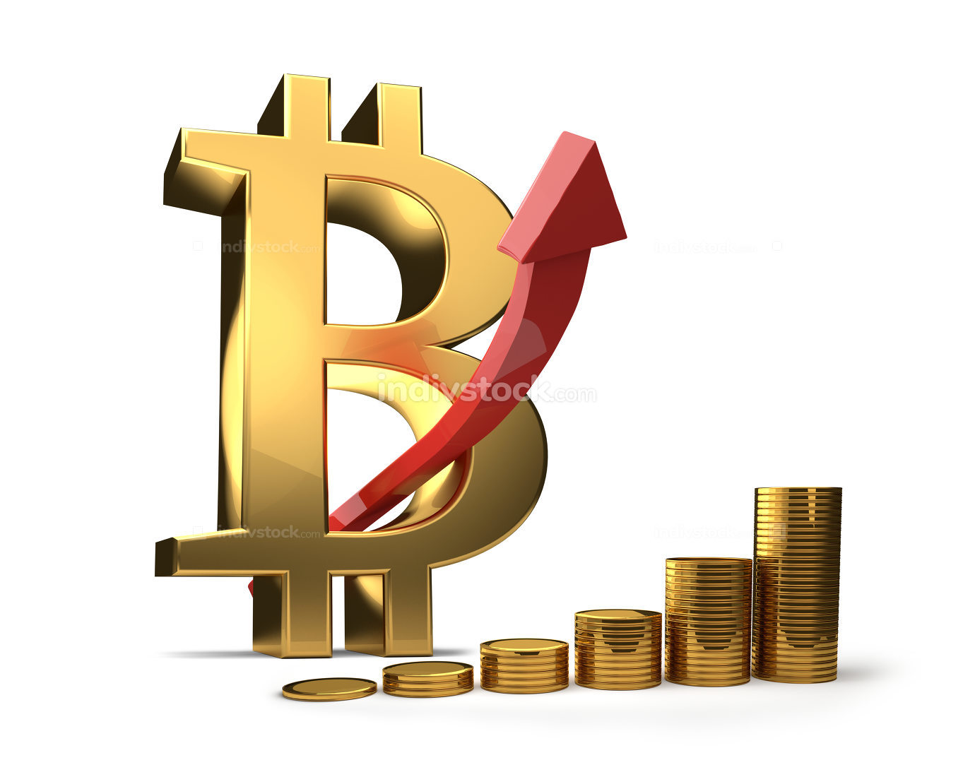 Bitcoin high increase 3D illustration