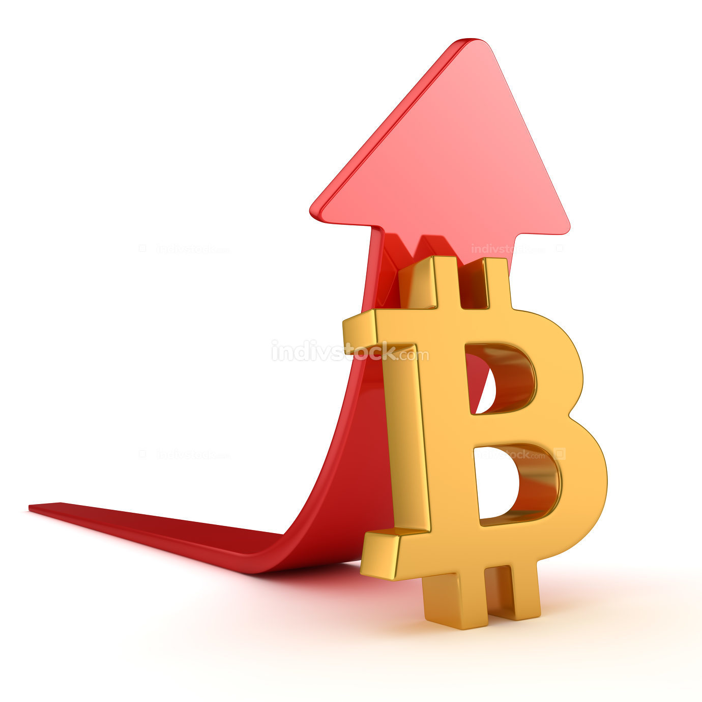 Bitcoin Symbol and Red Arrow
