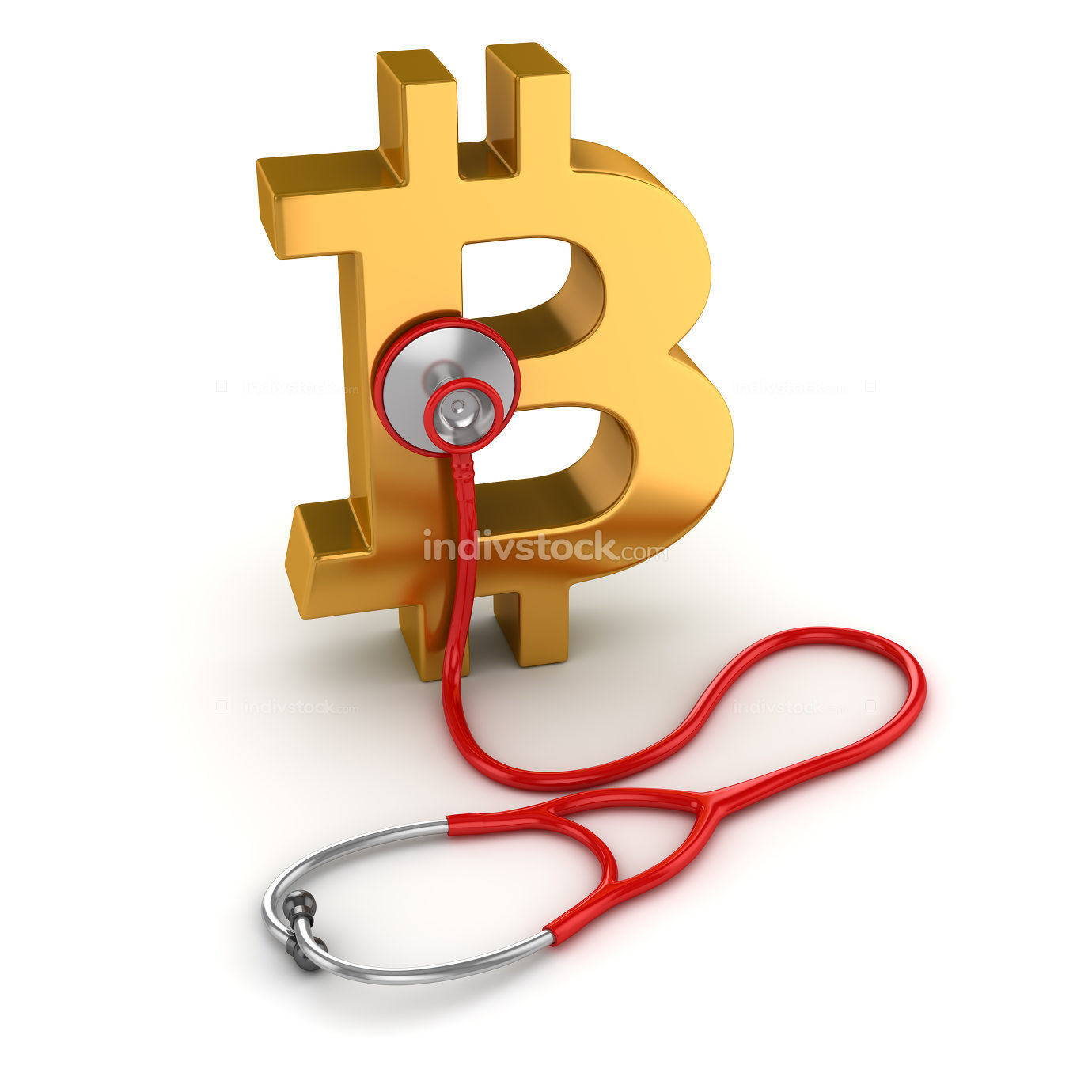 Bitcoin Symbol and Red Stethoscope