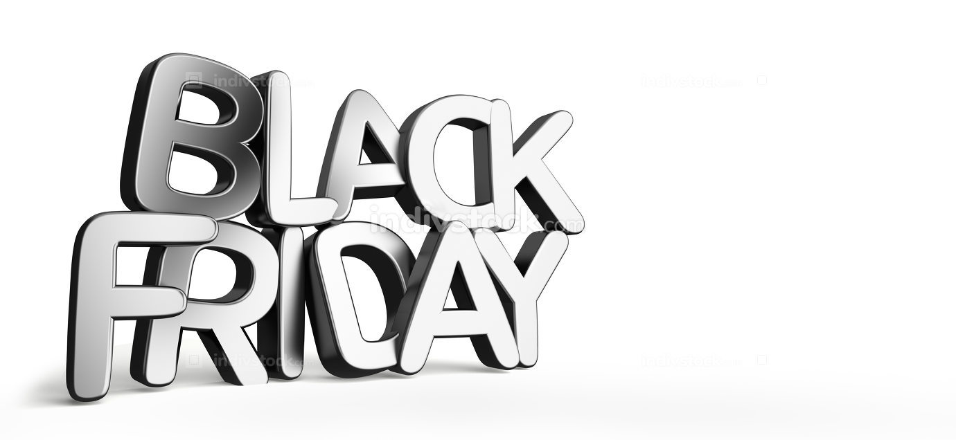 black friday 3d rendering bold letters