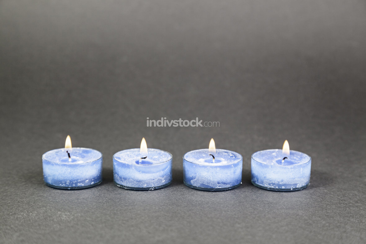 Blue candles lit