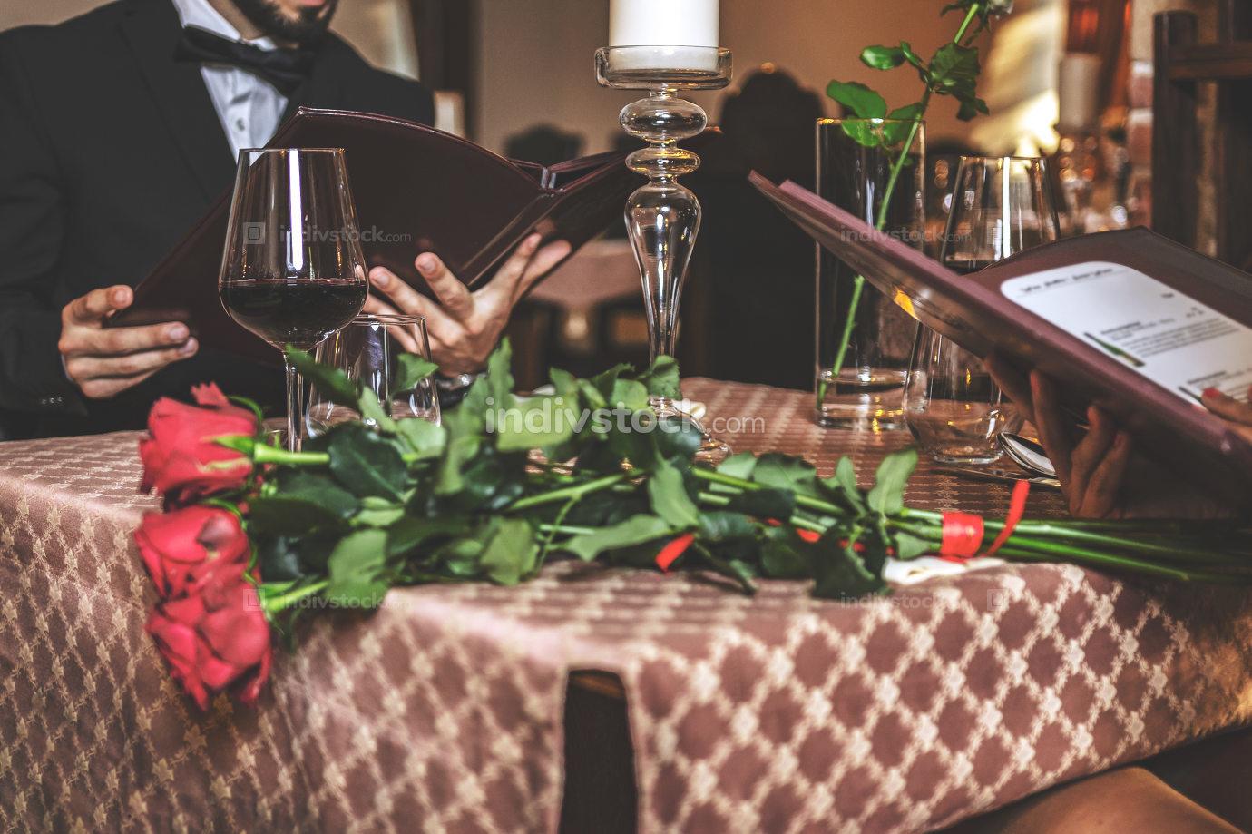 Blurred romantic dinner at the restaurant