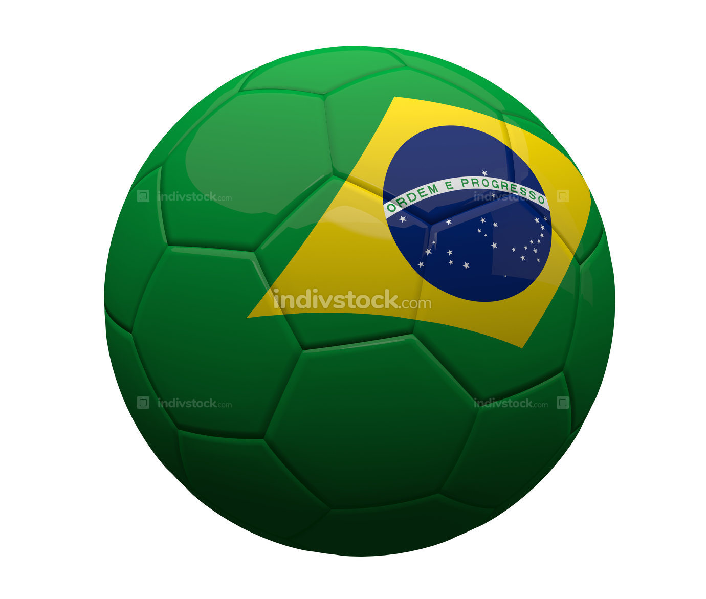 Brazil brazilian soccer football ball 3d rendering