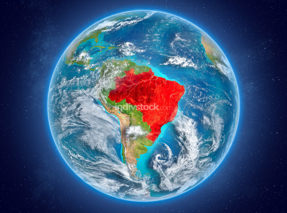 Brazil on planet Earth in space