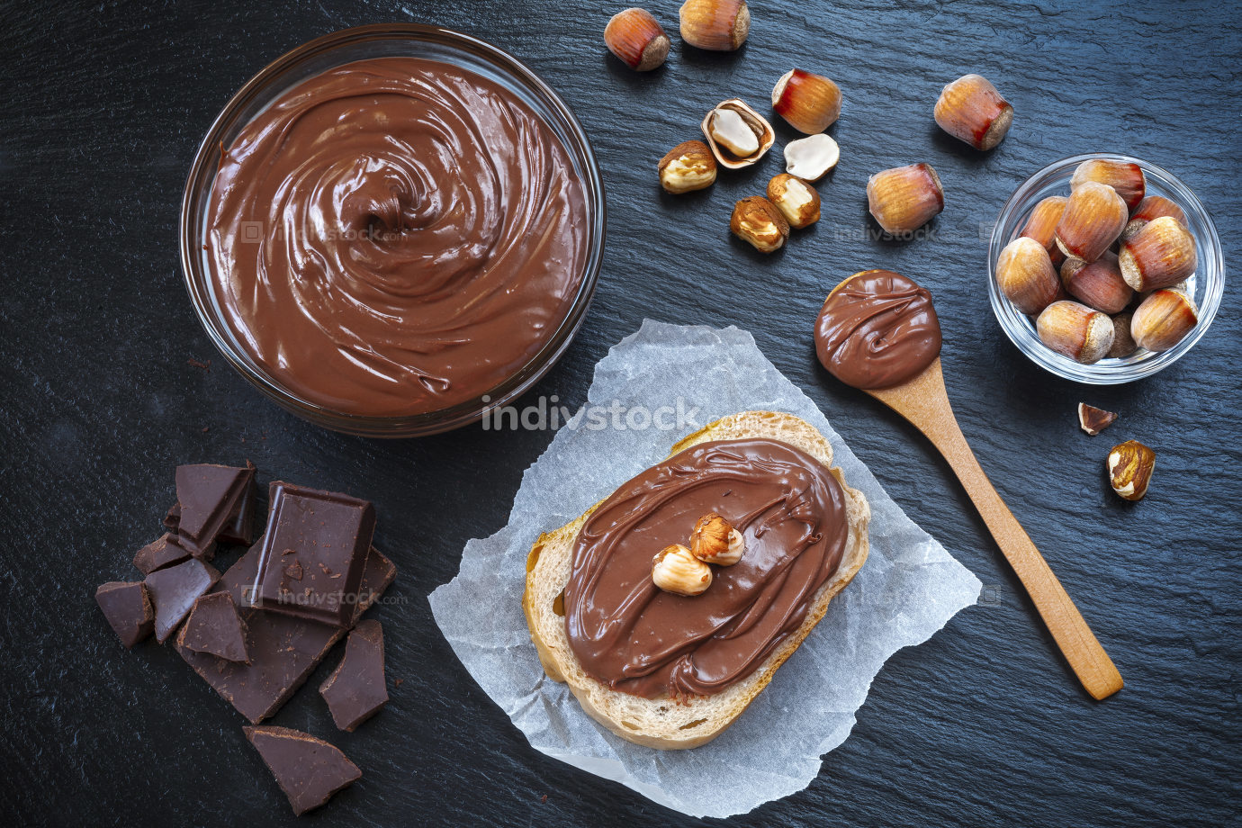 Breakfast with chocolate spread in glass bowl