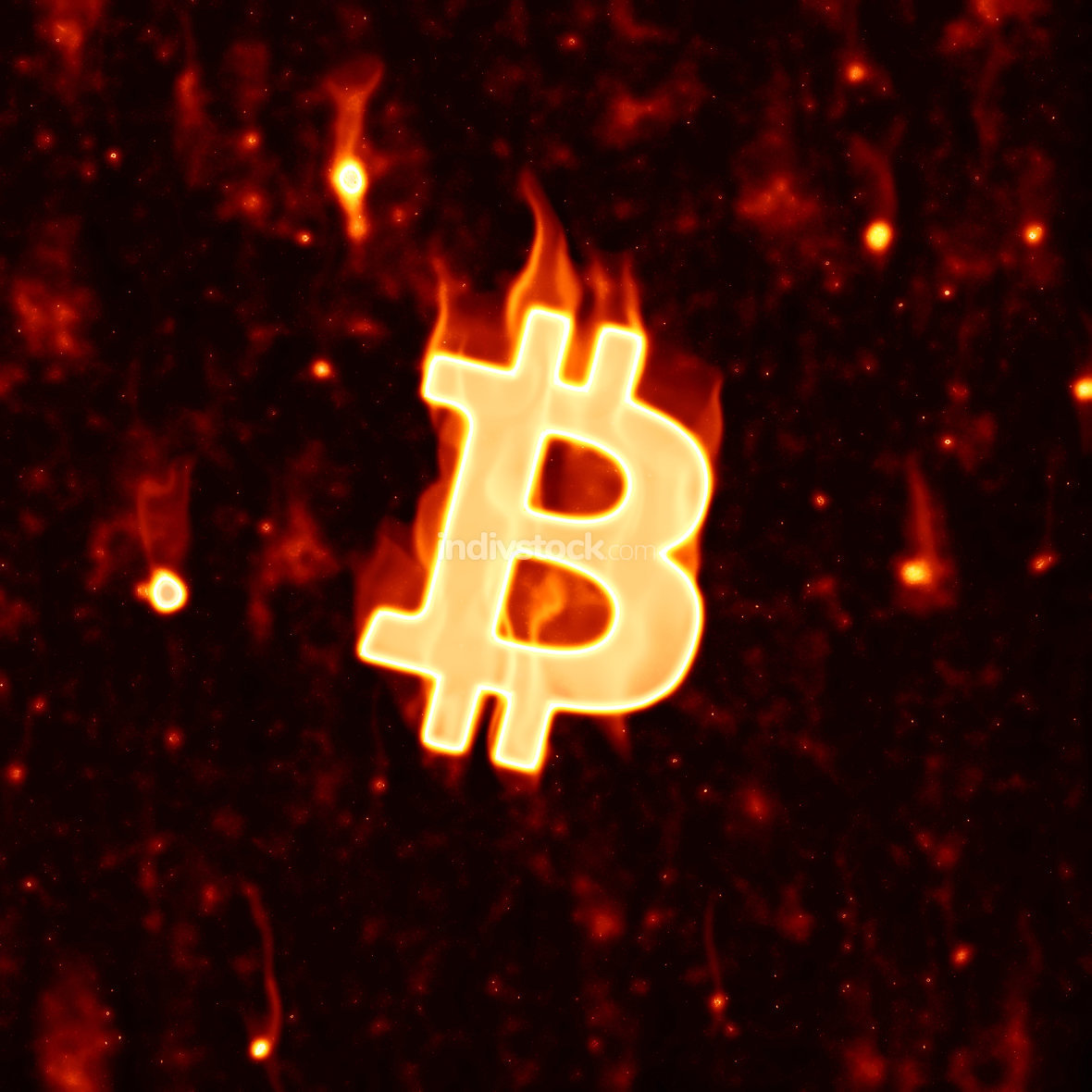 burning bitcoin sign