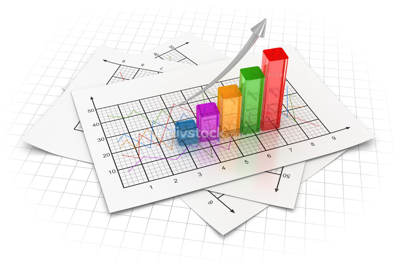 Business chart 3d rendered image