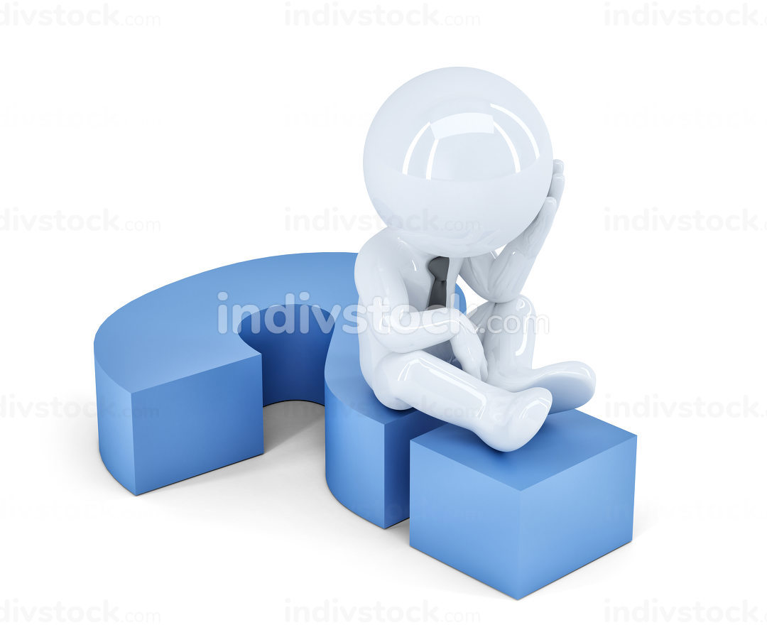 Business man sitting on a question mark. Business concept. Isolated. Contains clipping path