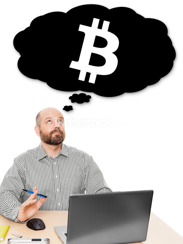 business man thinking about bitcoin investment