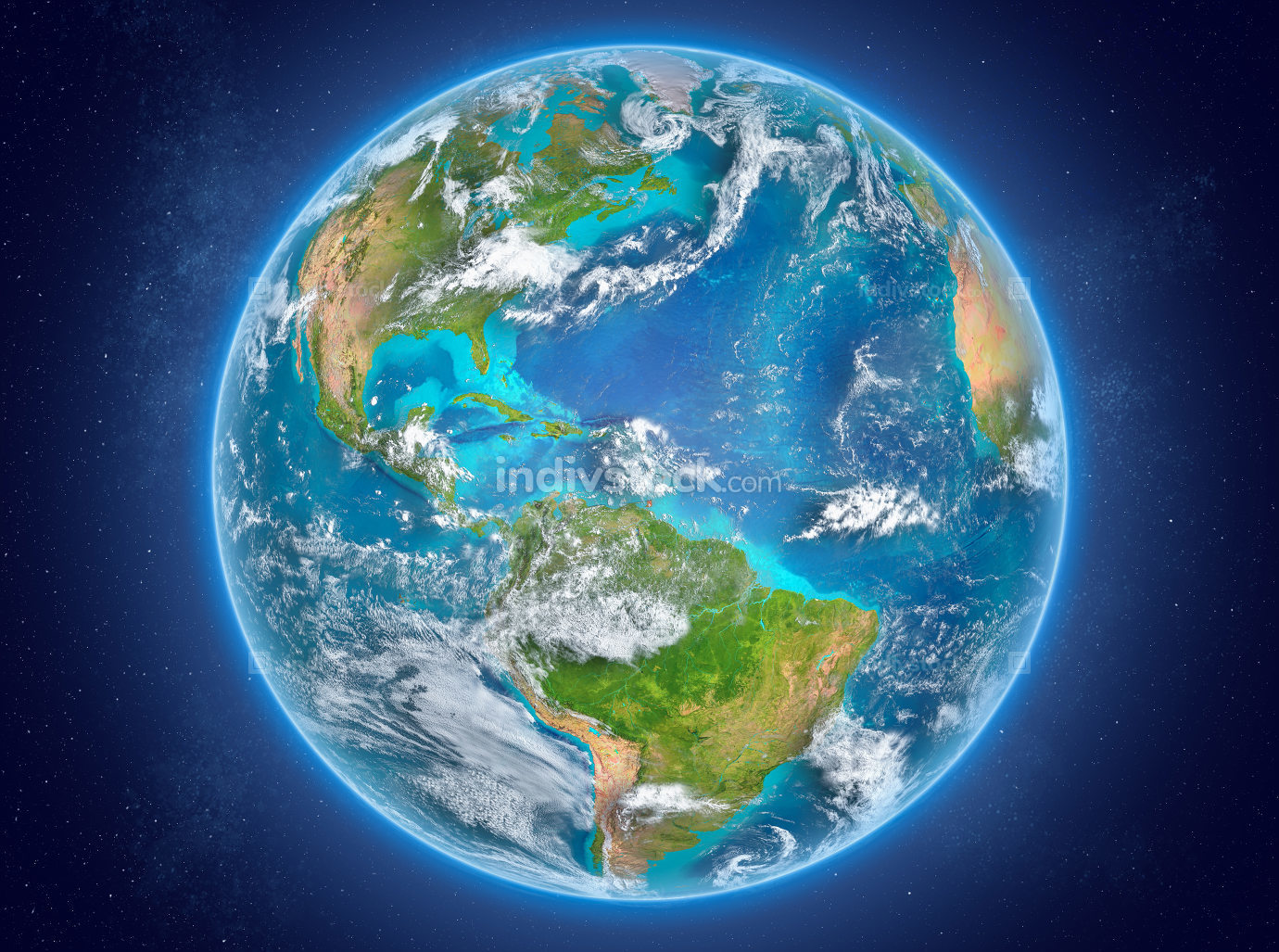 Caribbean on planet Earth in space