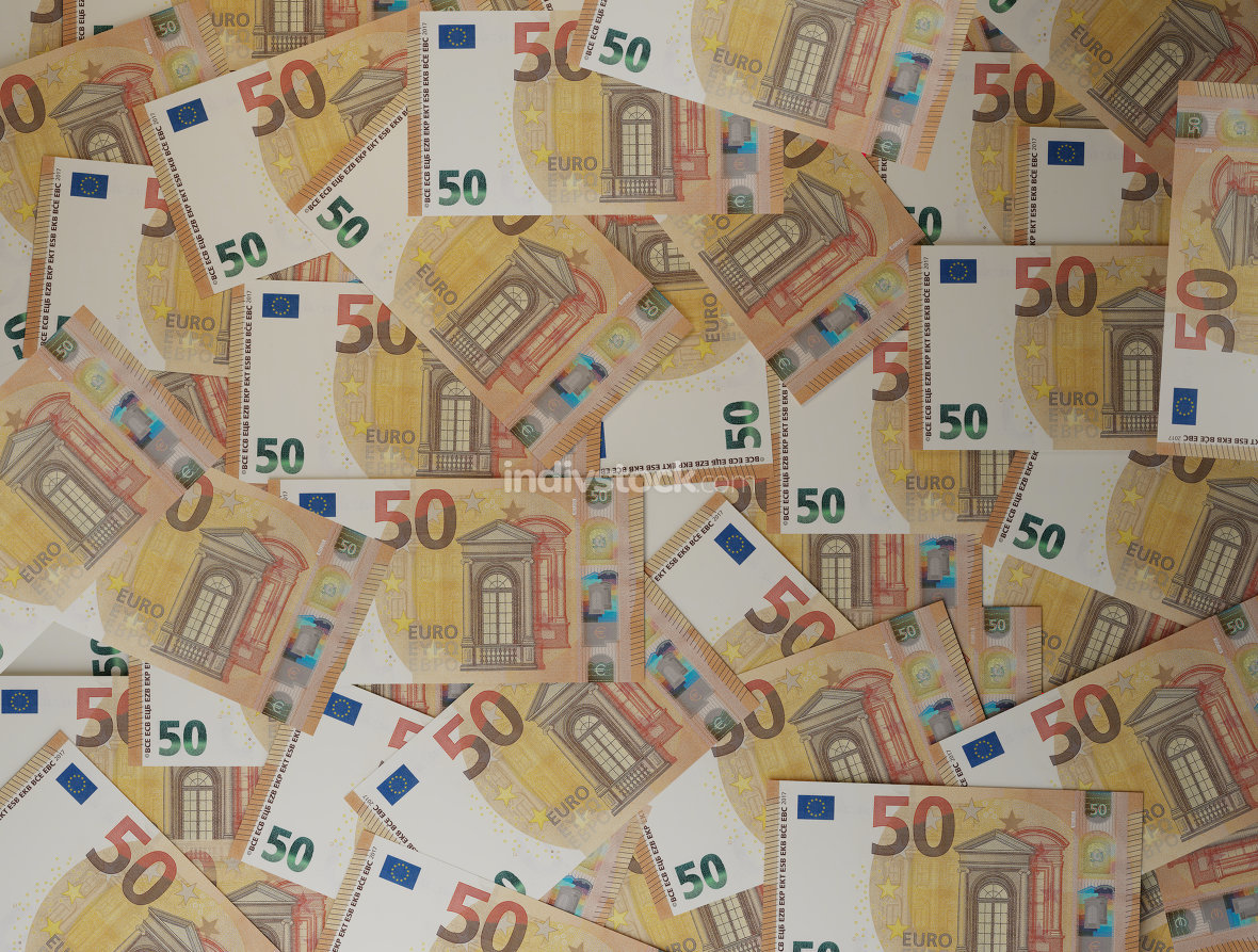 cash money pile of 50 euro banknotes 3d-illustration