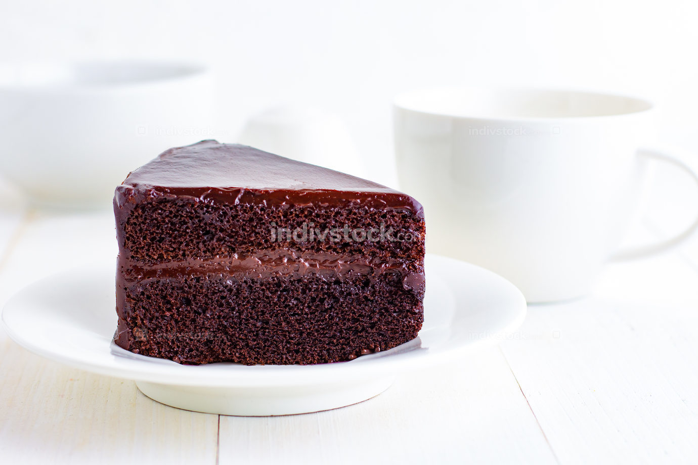 Chocolate Cake on white plate.