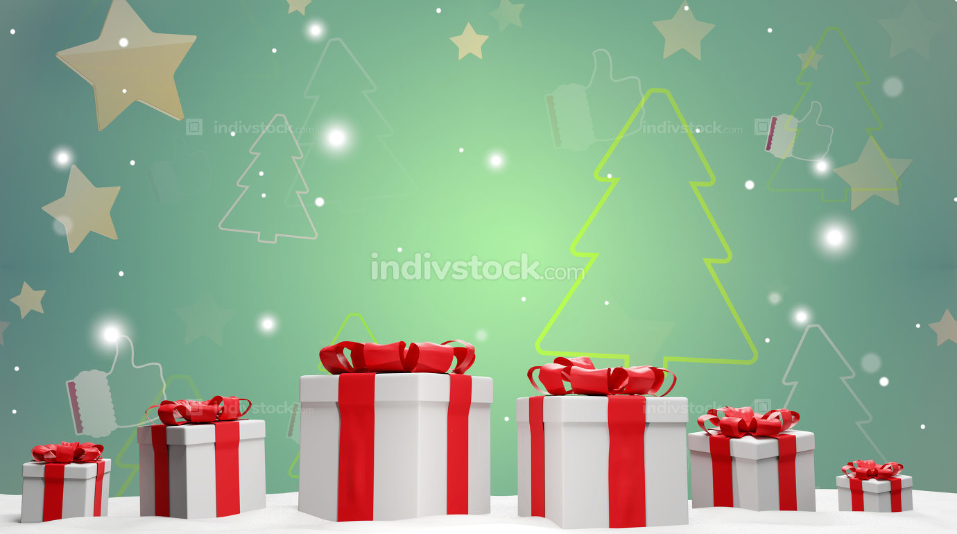 christmas background with christmas presents with snow and snowflakes 3d-illustration