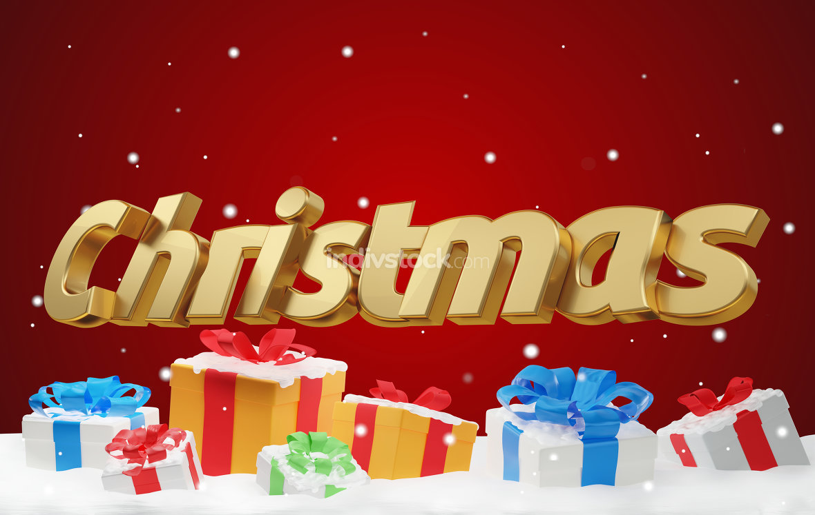 christmas bold letters with christmas presents 3d-illustration