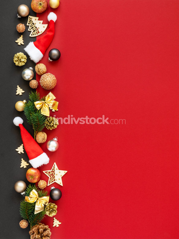 Christmas decoration background red with santa hats glass balls