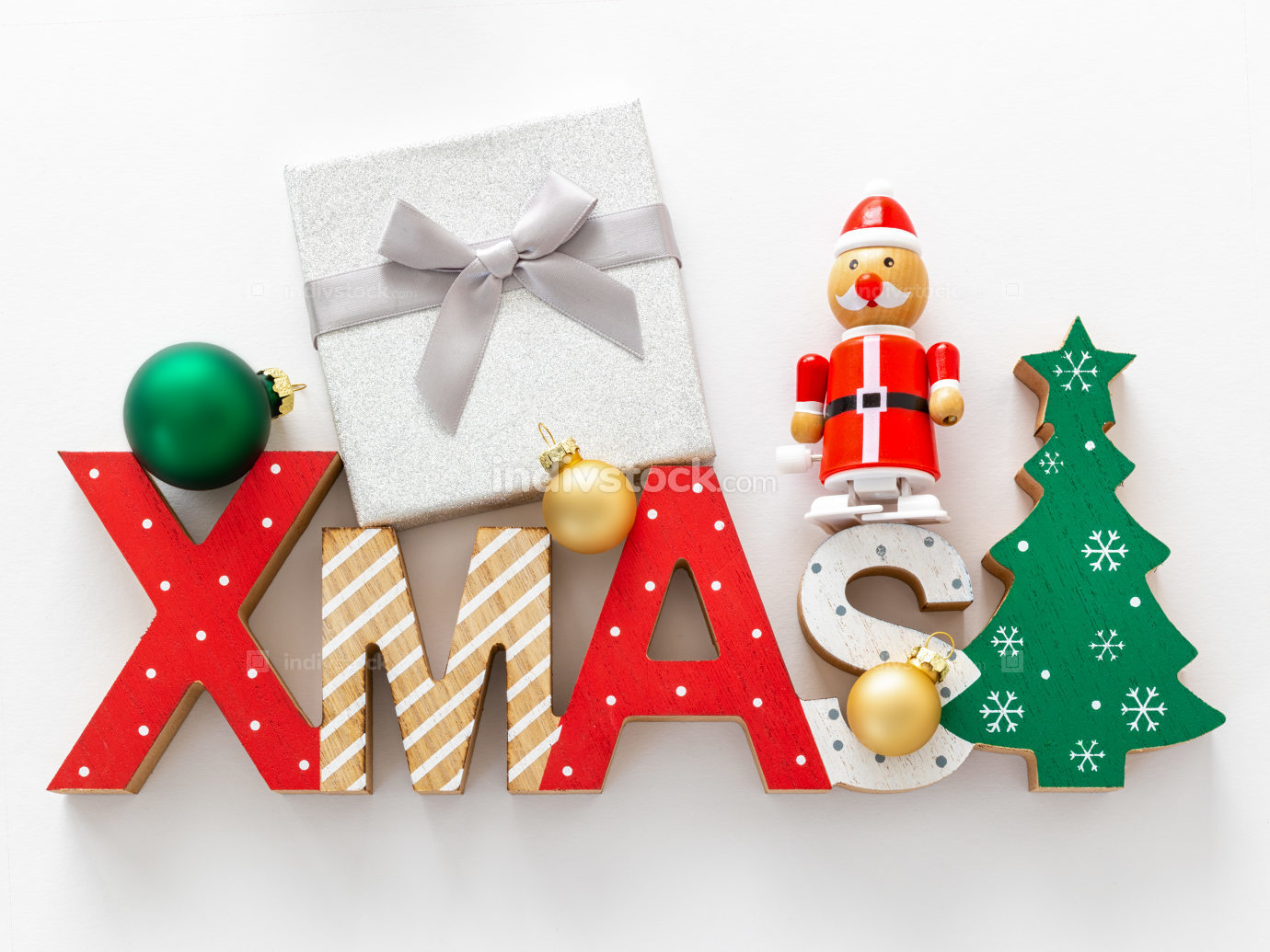 Christmas decoration with xmas text and some glass balls