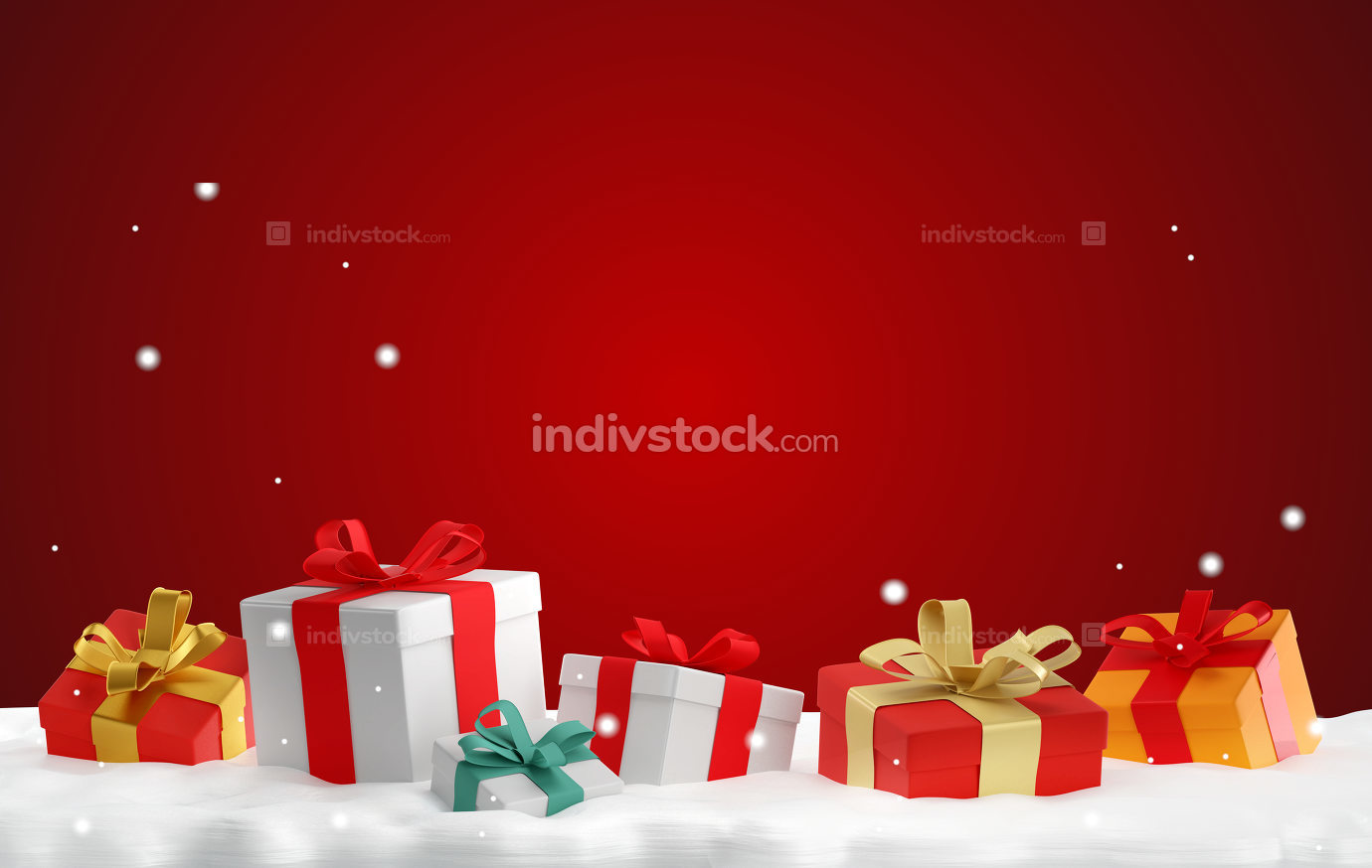 christmas gifts boxes 3d-illustration