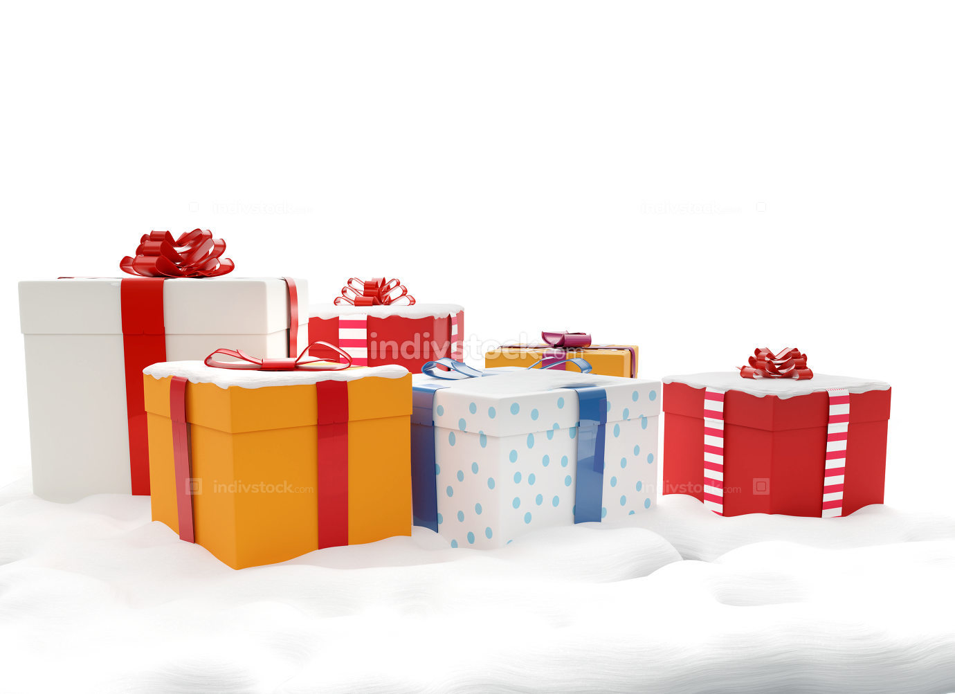 christmas gifts presents boxes 3d-illustration with Santa Claus