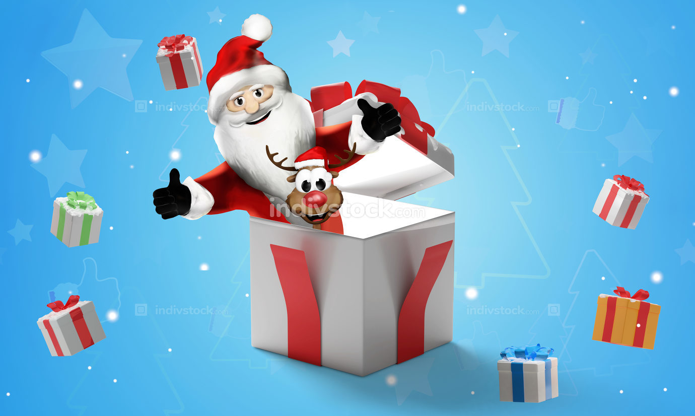 christmas presents 3d-illustration christmas background