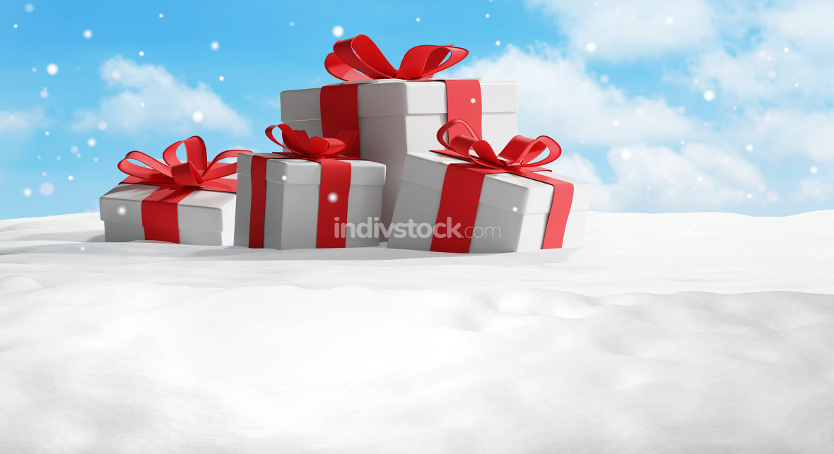 christmas presents festive background 3d-illustration