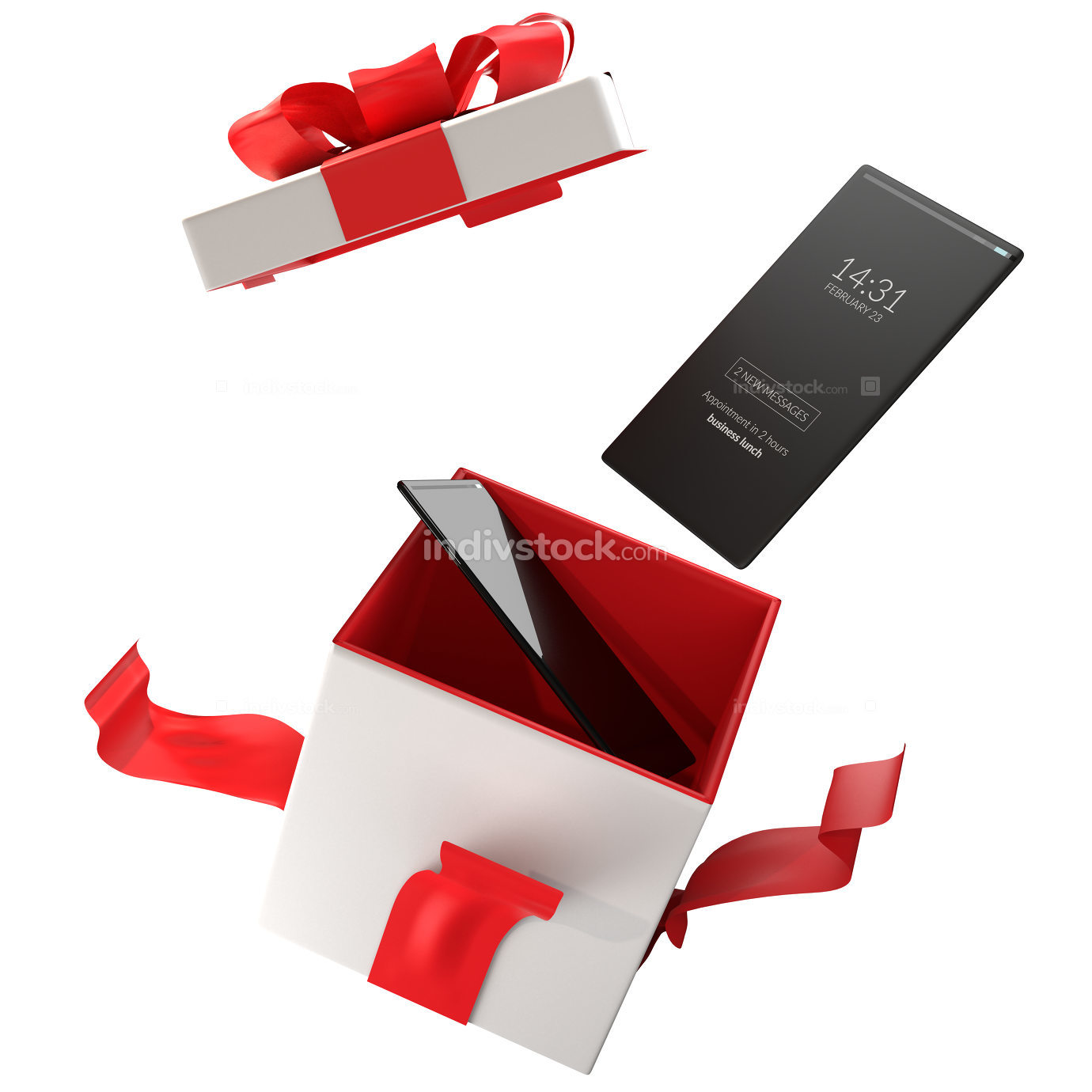 christmas presents new mobile phones out of the box 3d-illustrat