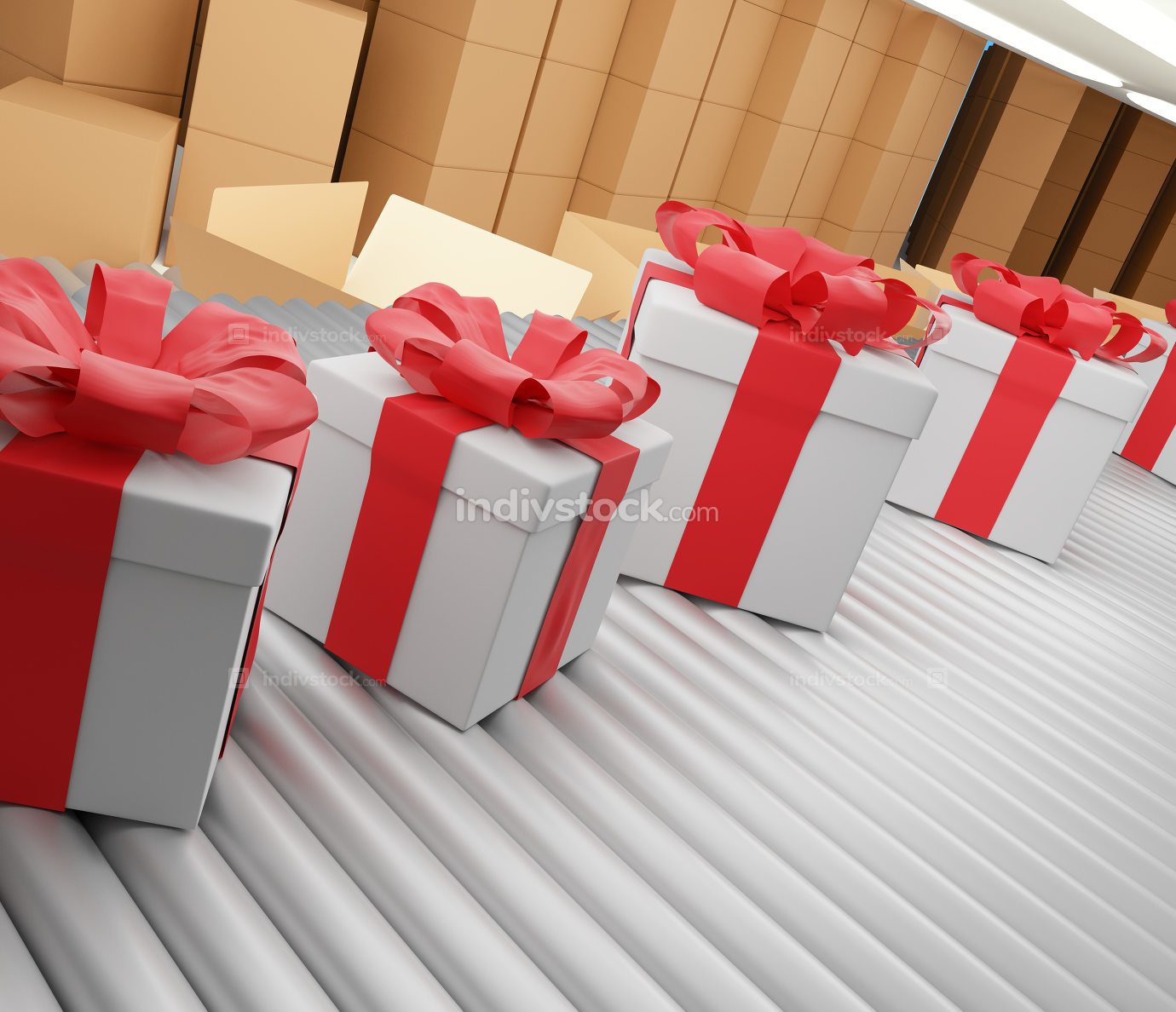 christmas presents row on conveyor belt 3d-illustration