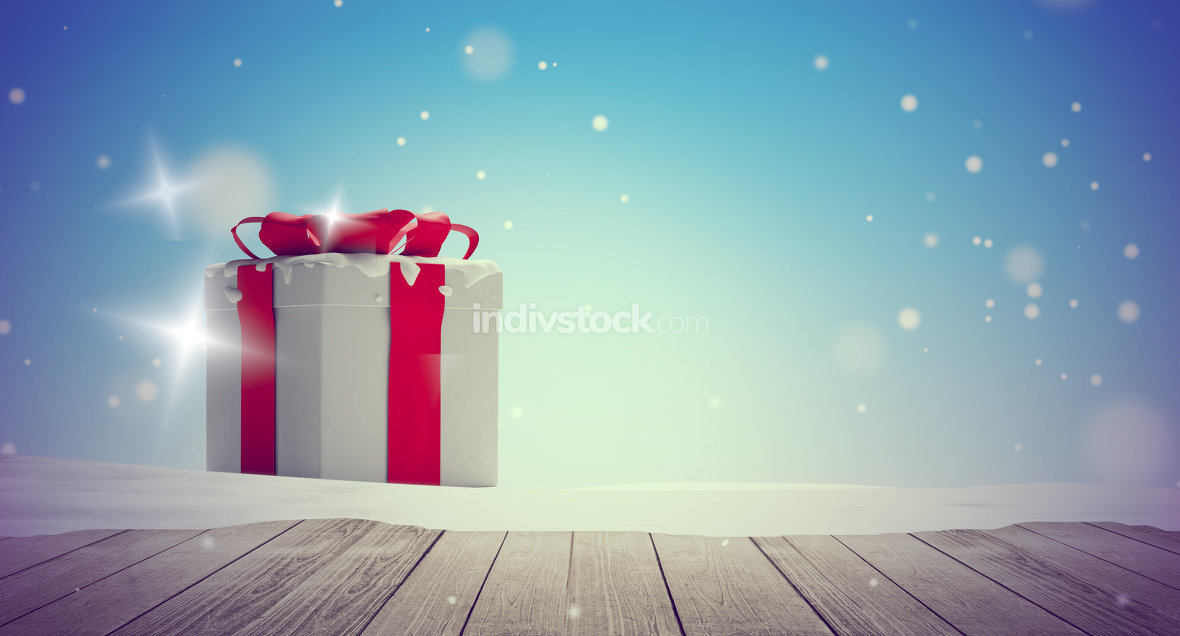 christmas presents snow winter background 3d-illustration wooden