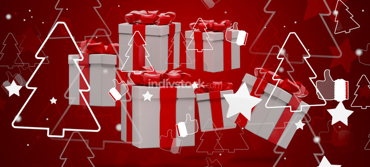 christmas presents stars with thumbs up and fir background 3d-il