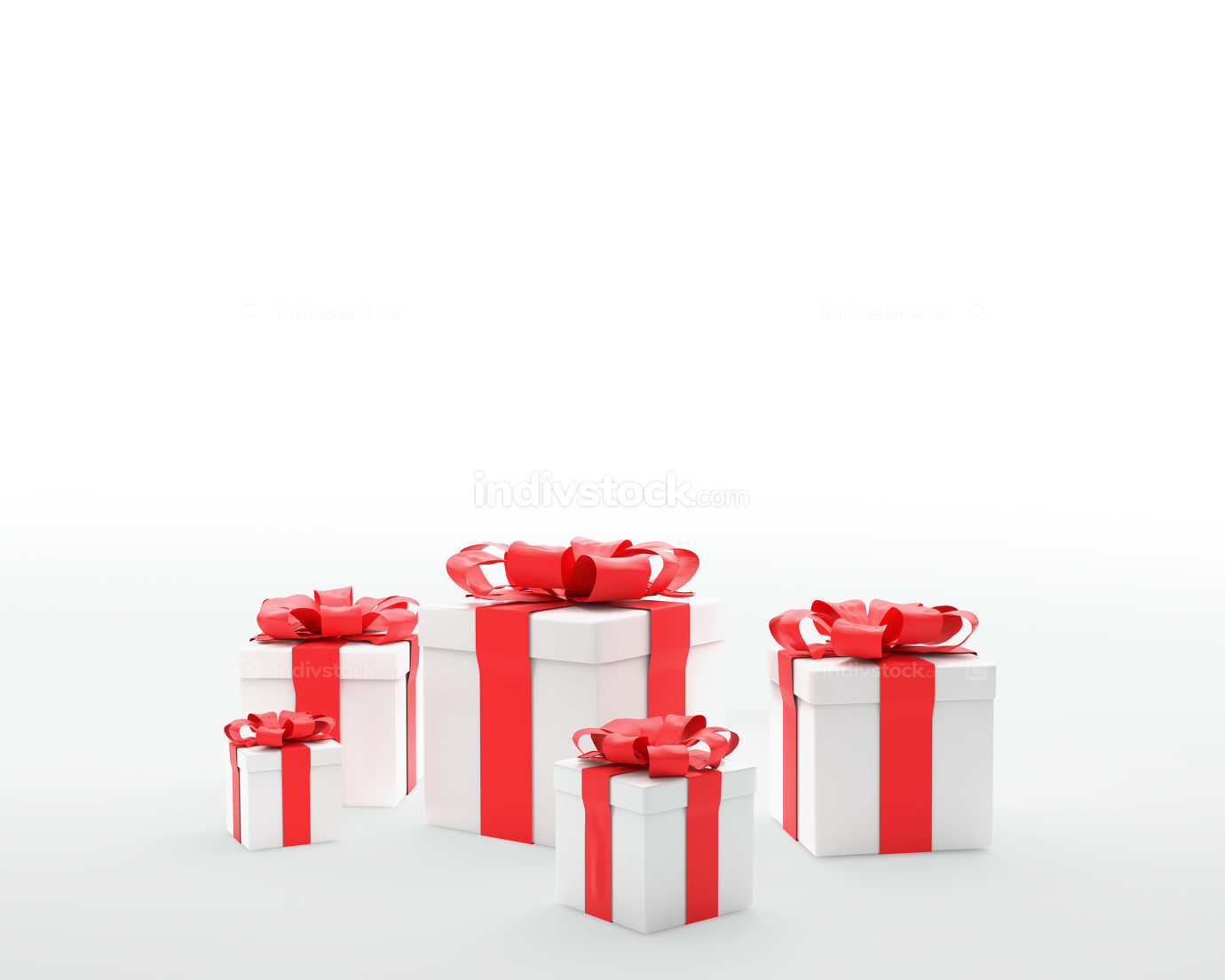 Christmas presents with ribbon 3d-illustration
