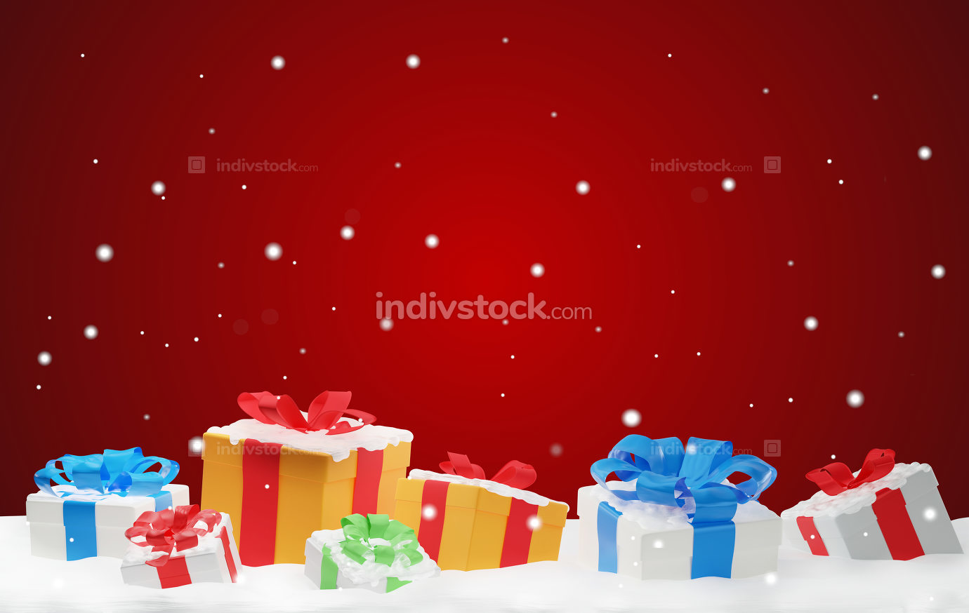 christmas presents with snow and snowflakes 3d-illustration chri