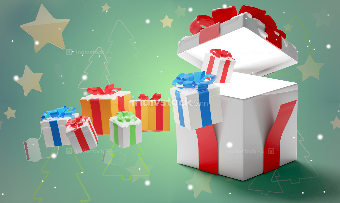 christmas surprise box christmas background 3d-illustration pres