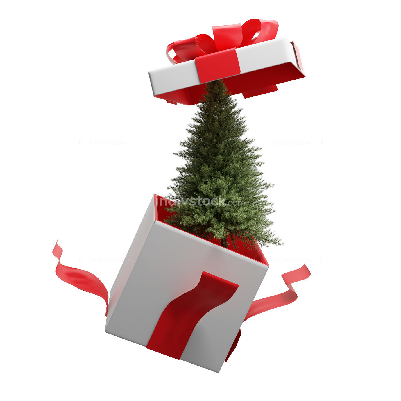 Christmas tree surprise box 3d-illustration
