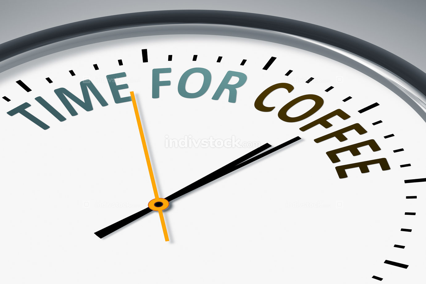 clock with text time for coffee 3d illustration