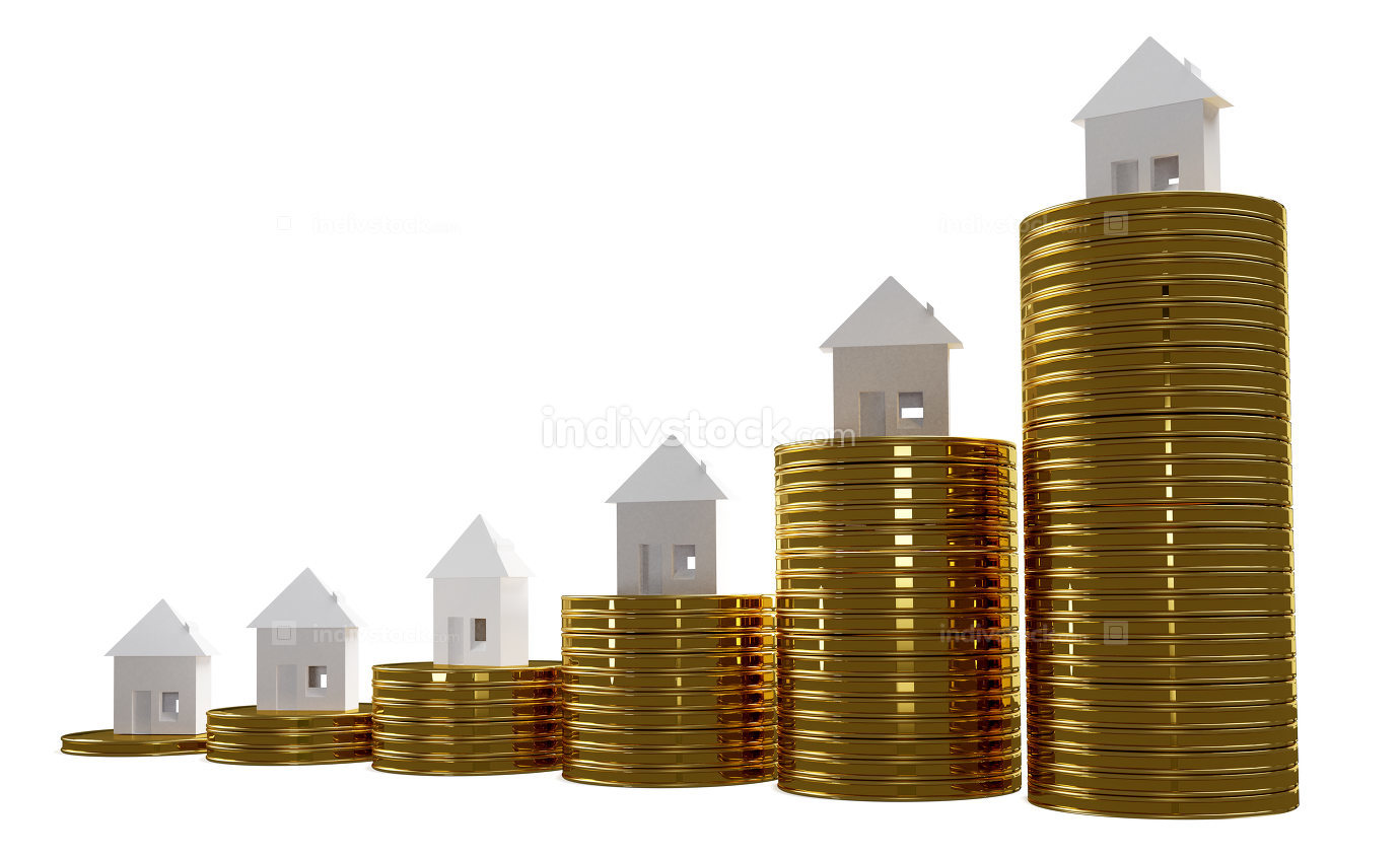 coins and houses 3d-illustration