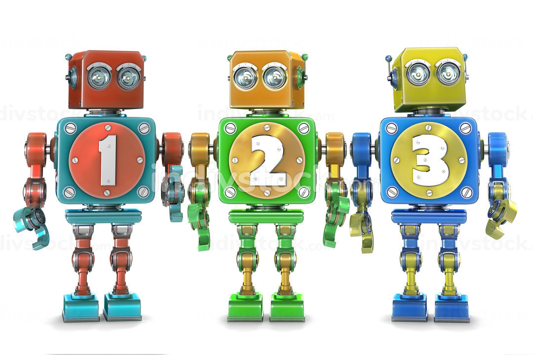 Colorful 123 numbers on vintage robots. Isolated. Contains clipping path