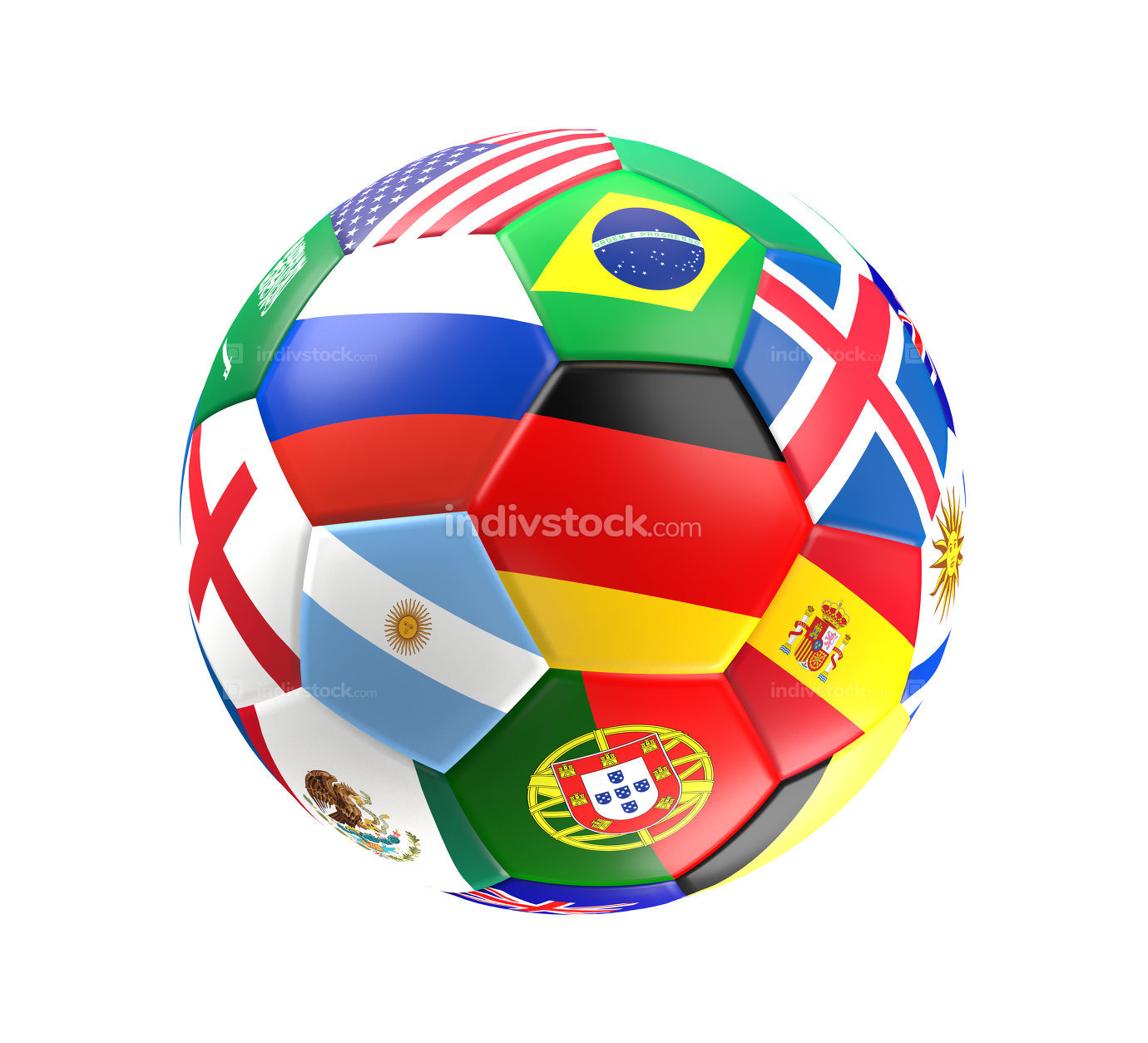 colorful soccer ball in goal 3D rendering