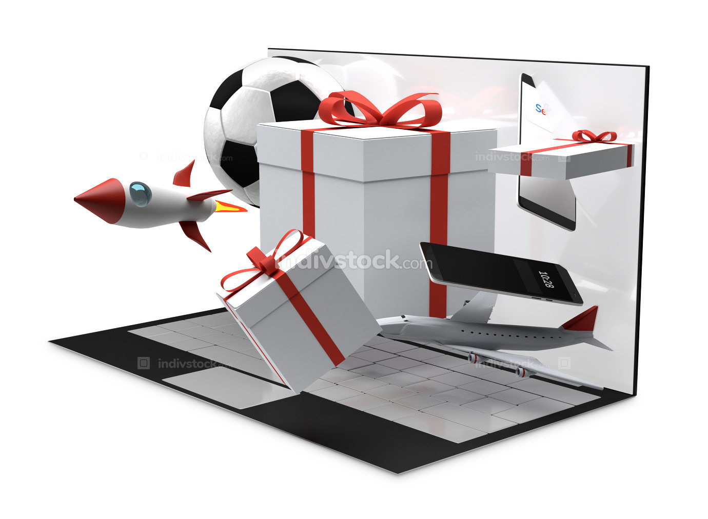 computer desktop gifts products 3d-illustration