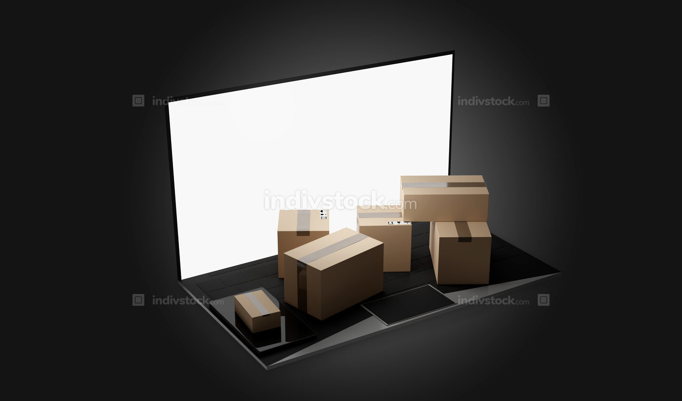computer notebook laptop packages delivery 3d-illustration