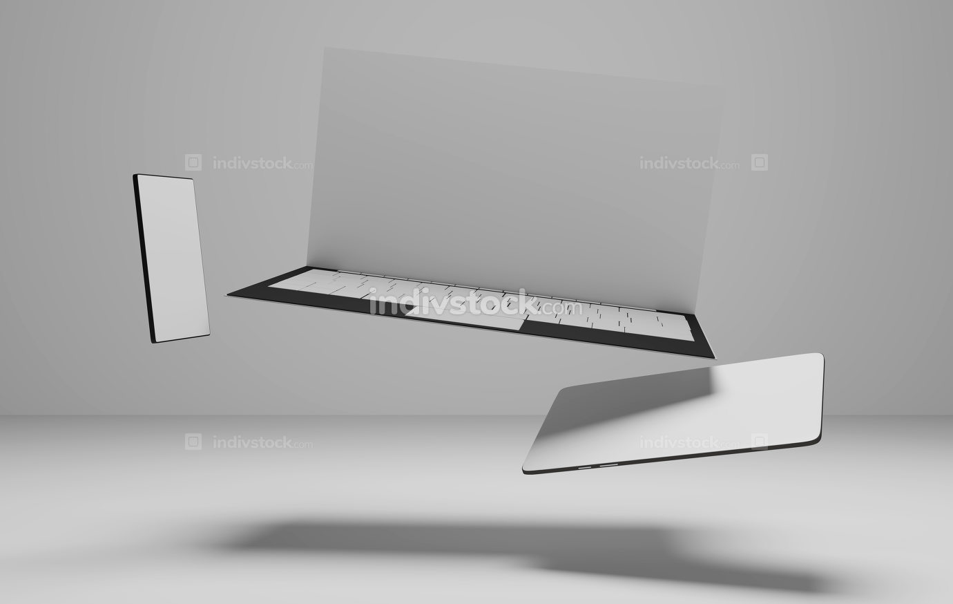 computer notebook tablet-computer and mobile phone 3d-illustration