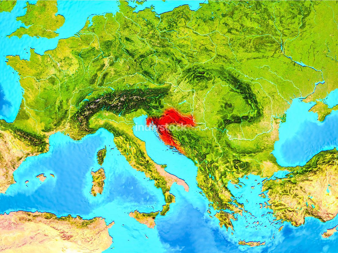 Croatia in red on Earth