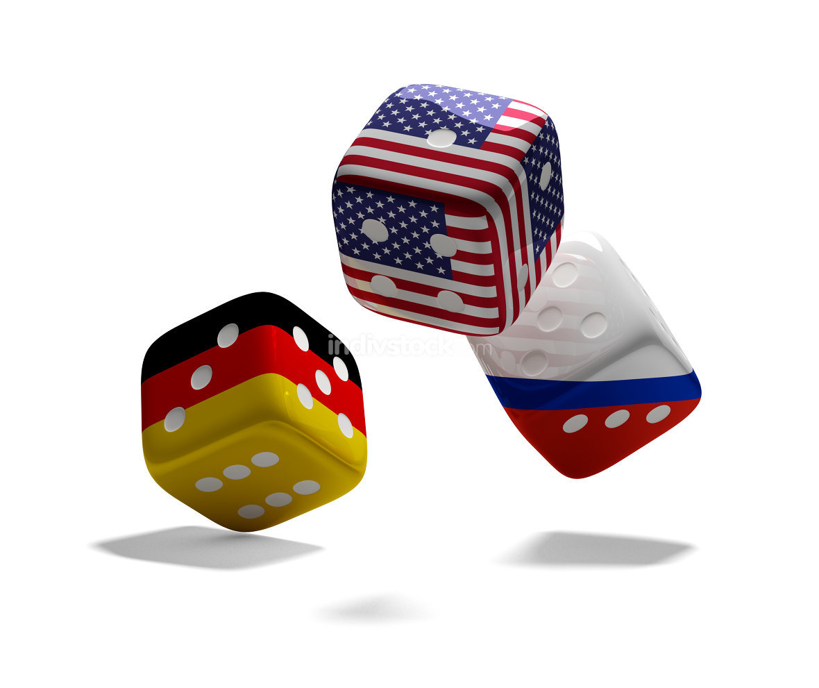 cube dices Germany USA Russia 3d-illustration