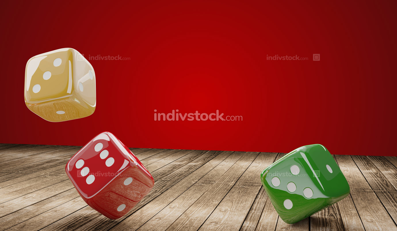 cubes dices red to green on wooden 3d-illustration