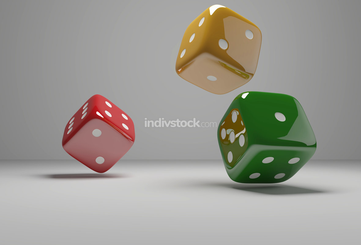 cubes dices red yellow green 3d-illustration
