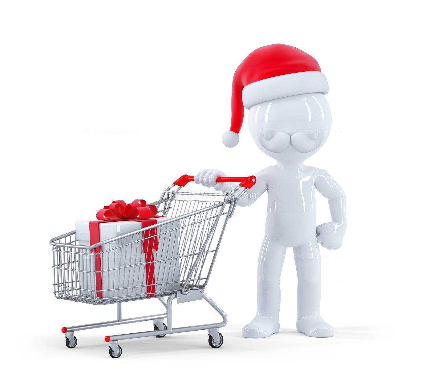 Cute 3d santa with shopping cart and christmas gift. Isolated on white background