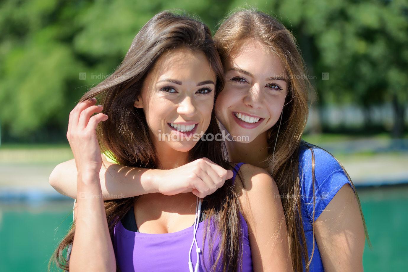 Cute girls enjoying healthy lifestyle