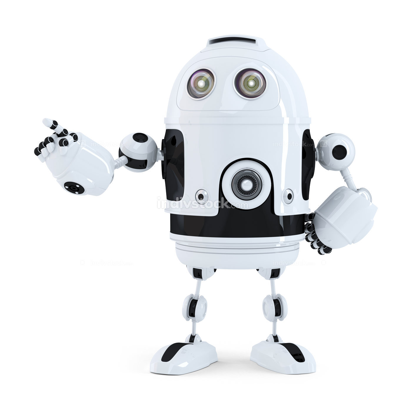 Cute robot pointing on something